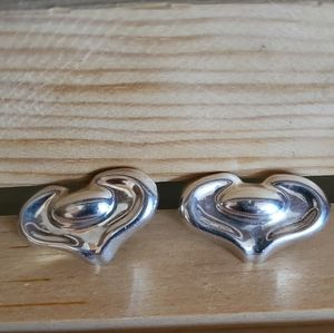 TAXCO Puffy Heart Sterling Earrings TF-40 vintage